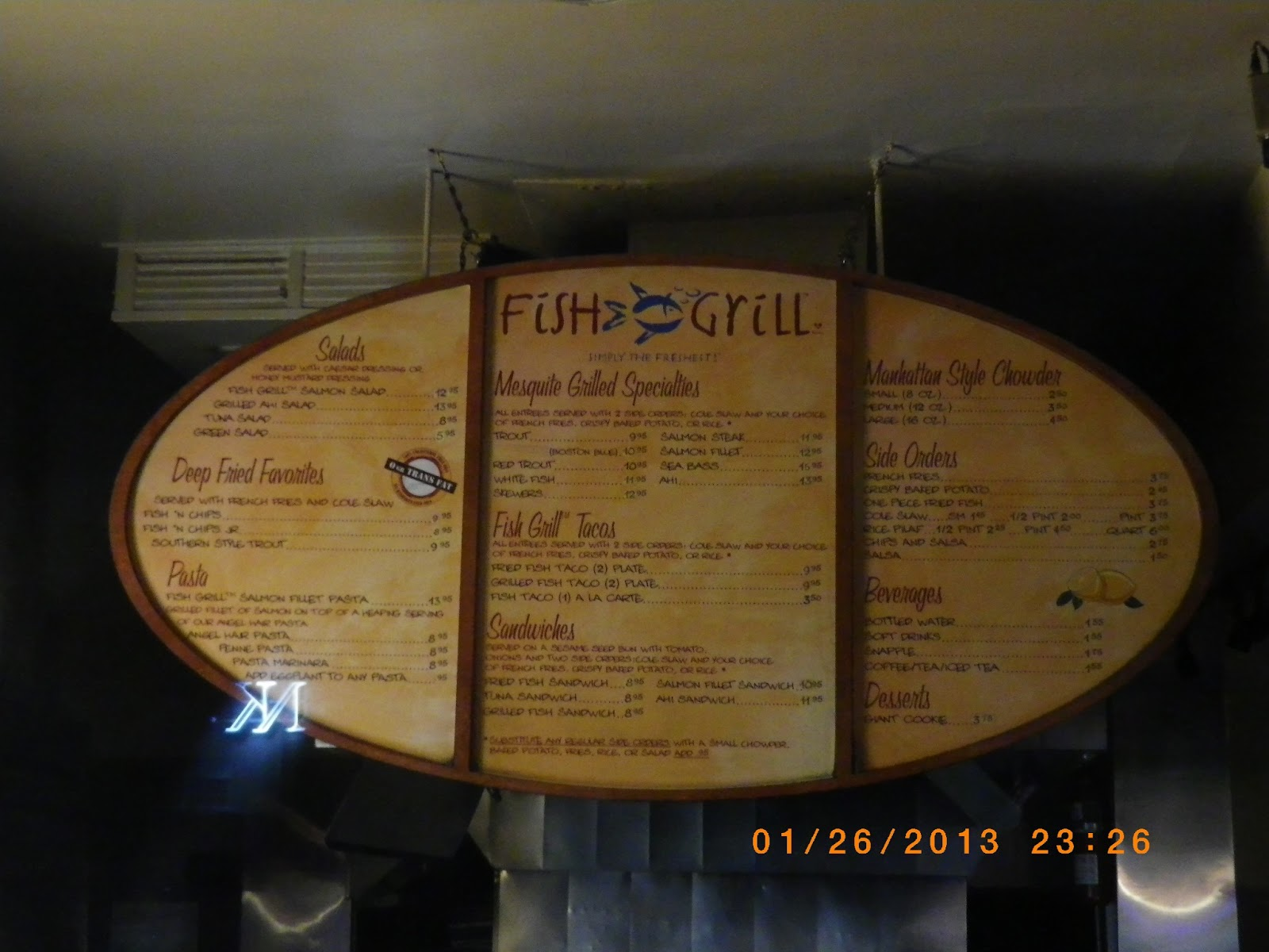 Vc menu fish grill los angeles la brea for Fish grill los angeles