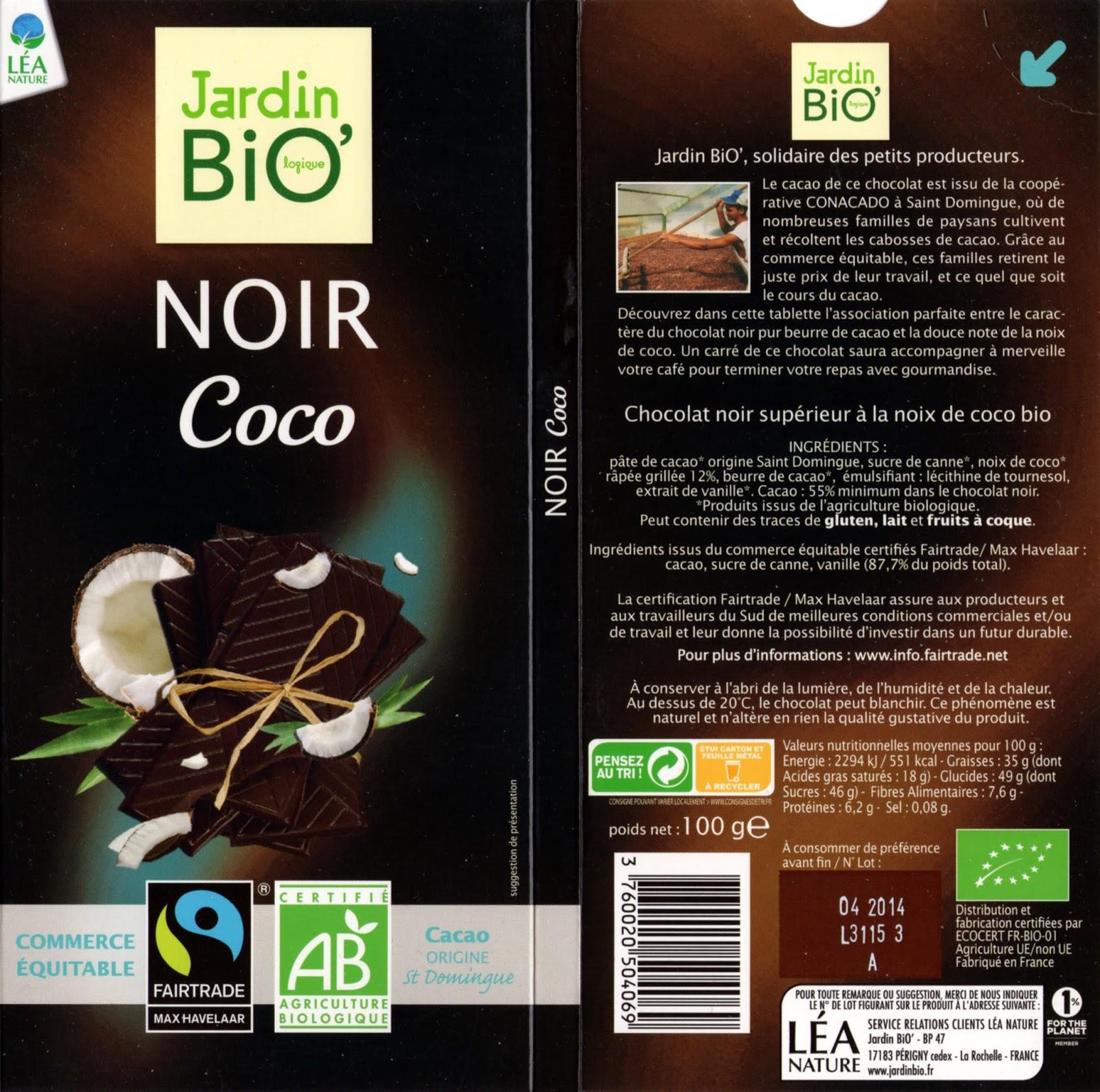 Jardin Bio Noir Coco Tablette de Choc