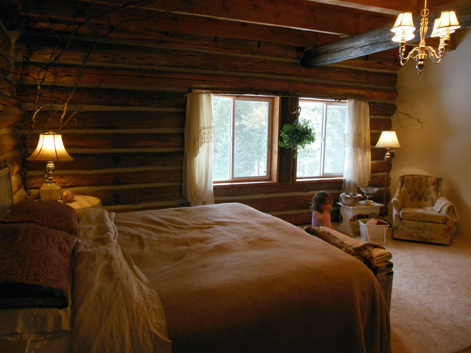 Life at providence lodge log home tour part 7 master bedroom for Log home master bedrooms