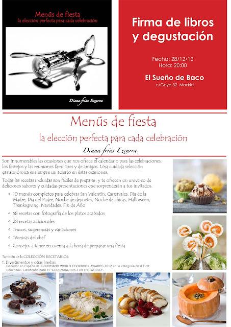 Cartel de la Presentación del libro de Diana Frías en El Sueño de Baco. Blog Esteban Capdevila