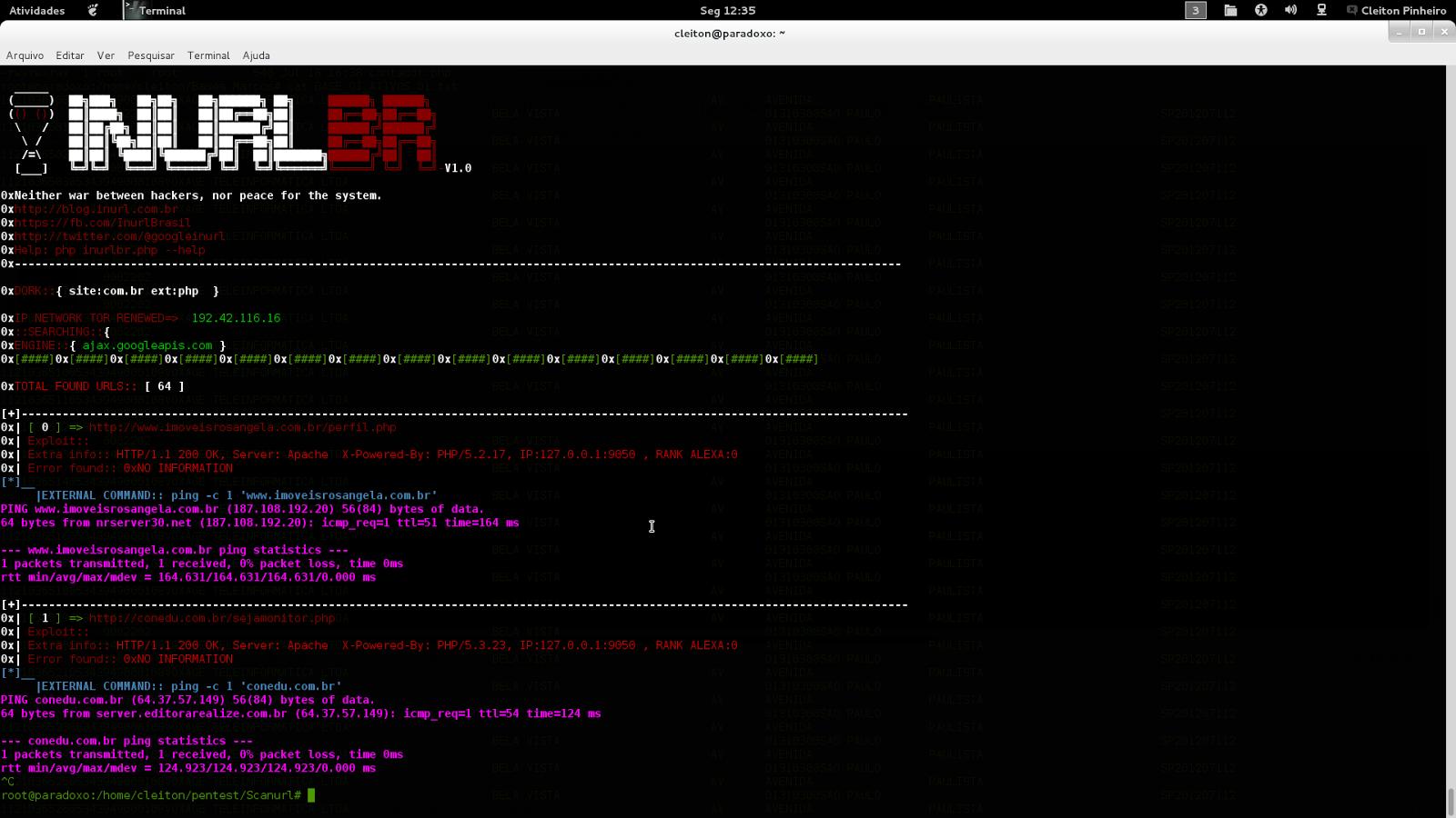 Testando novo Scanner inurl 1.0 beta