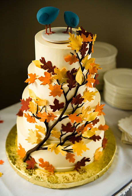 Wedding Inspiration Center Fall Wedding Cake With Nature Fondant Icing