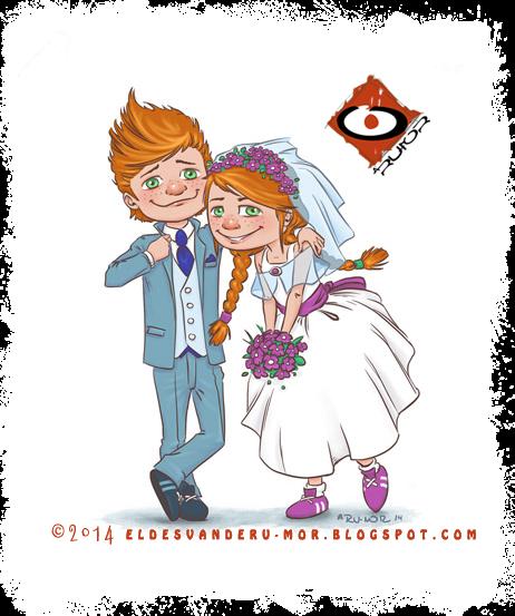Ilustración realizada por RU-MOR de los personajes, WIT y WILL, protagonistas de la ONG Enigama Positivo. Para cuento infantil