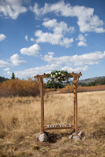 rustic wedding arbor ceremony