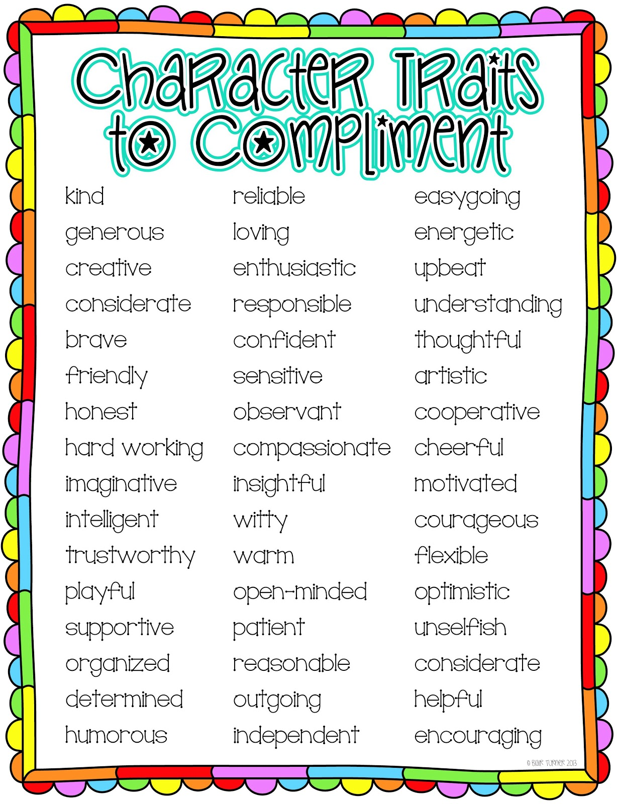 Terrible image for character traits printable