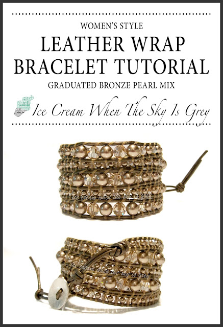 DIY Bracelet: Swarovski Bronze Pearl & Crystal Golden Shadow Graduated Mix On Kansa Leather - Chan Luu Women's Style 5 Wrap (Preview)