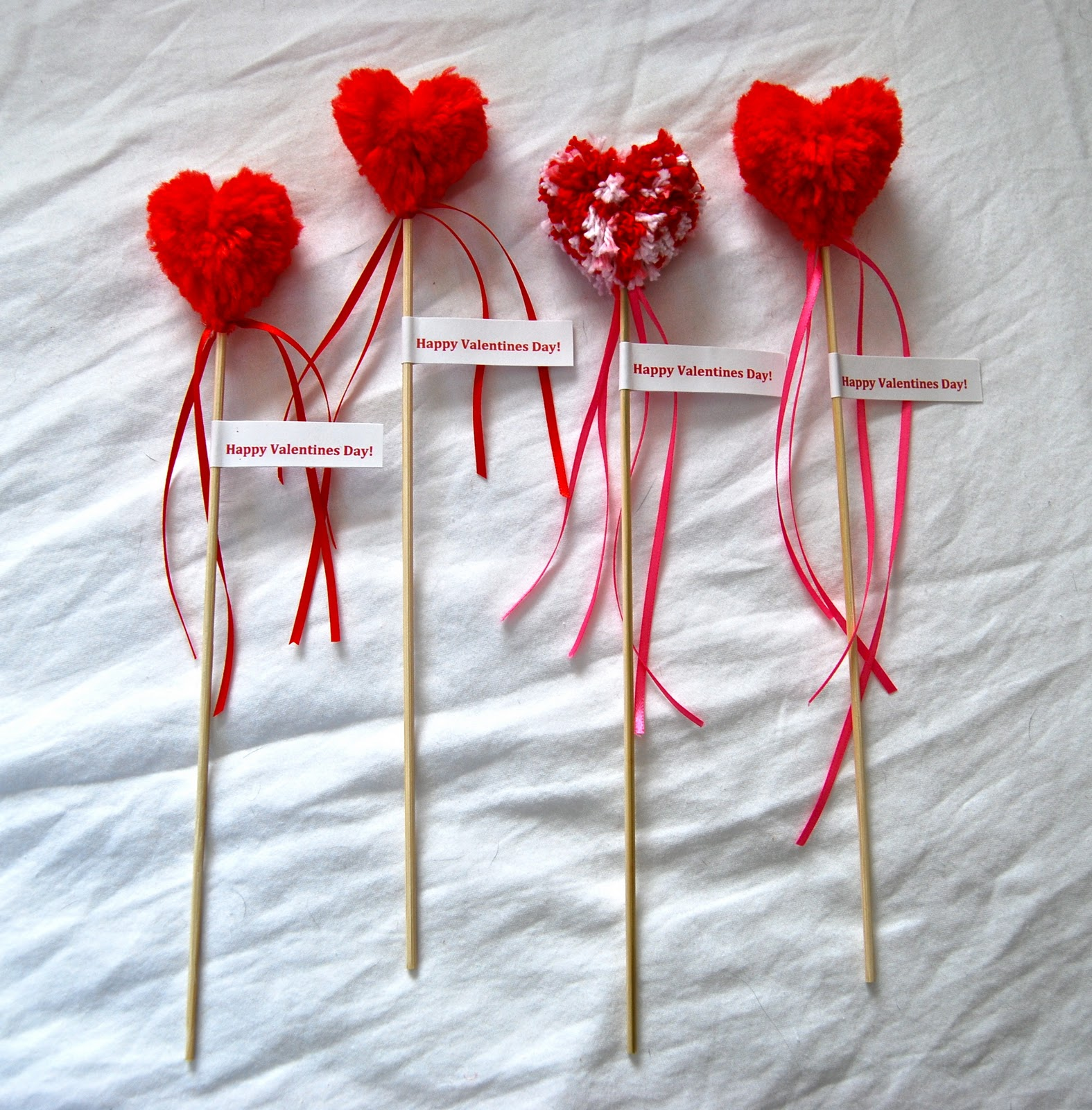 Tangled happy yarn crafting with kids valentine pom pom for Where to buy pom poms for crafts