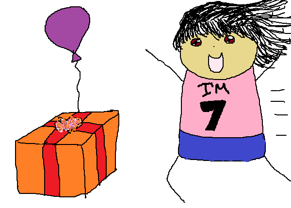 A kid dressed in birthday pyjamas running towards the birthday present and balloon.