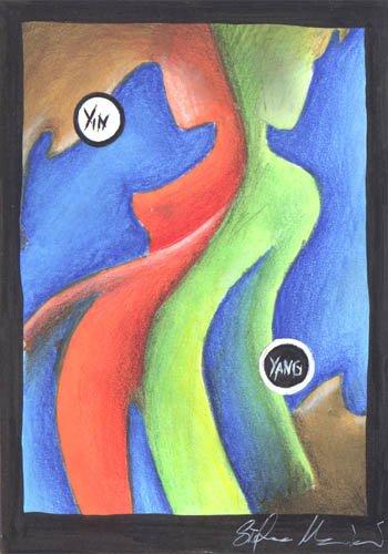 yin yang dipinti orme magiche quadro disegno pittura spirituale arte zen