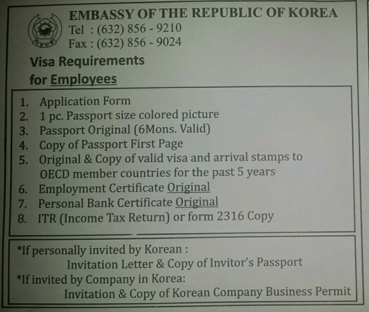 invitation letter for visapplication business sample%0A I got this leaflet from the embassy  Note that these are requirements for  employees