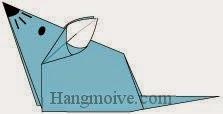 Bước 14: Vẽ mắt, mũi để hoàn thành cách xếp con chuột nhắt bằng giấy theo phong cách origami.