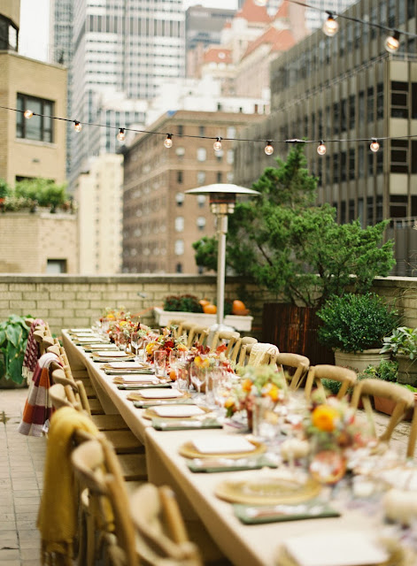 Fall al fresco party setting on a roof