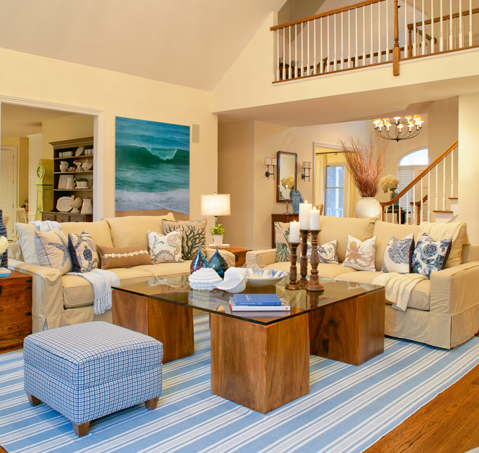Haus design colorways beautiful in blue for Beach themed living room colors