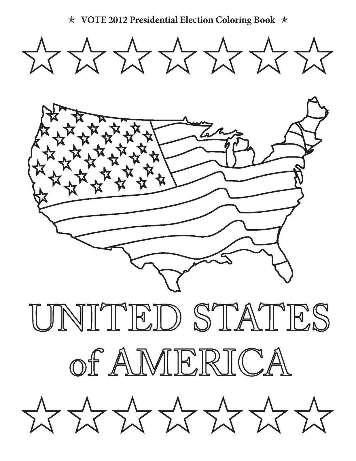 Stars USA Map And United States Of America From Vote 2012 Presidential Election Coloring Book
