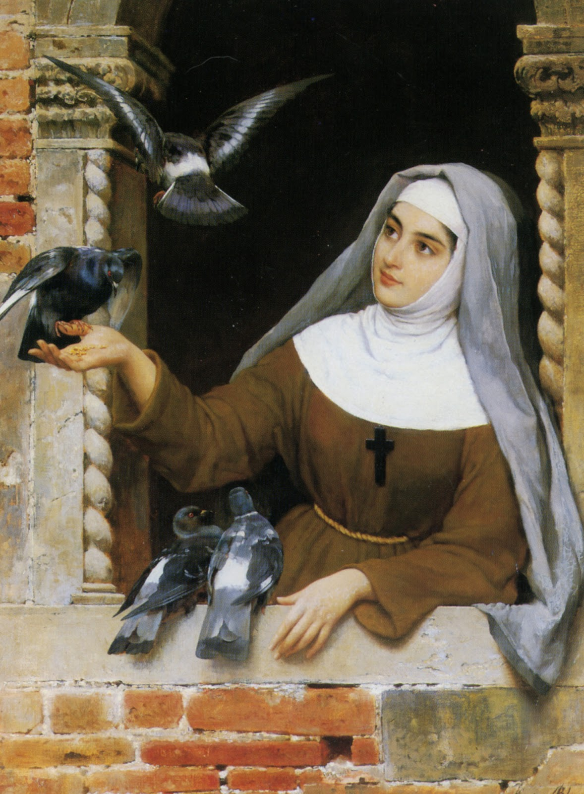 Nun and pigeons