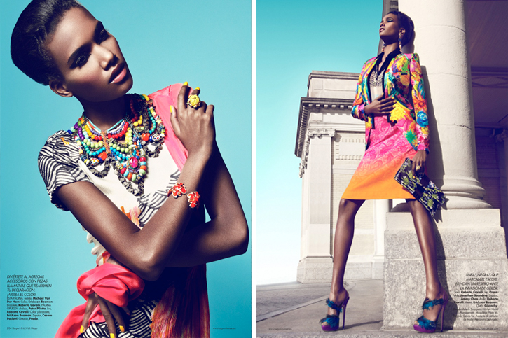 Jonathan Saunders SS2012, Jimmy Choo feather stilettos, Givenchy clutch ethnic, tropical style,