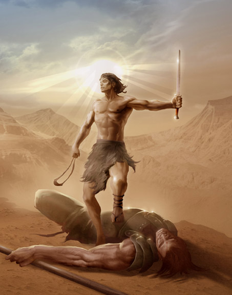 What can we learn about following Christ from David's encounter with Goliath?