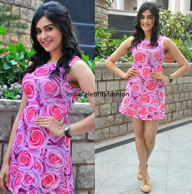 Adah Sharma in Koovsfashion Floral Dress