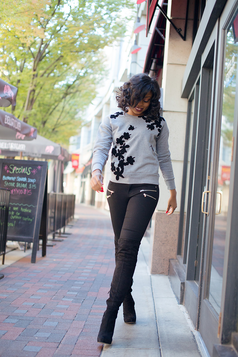 casual style, jcrew graphic floral sweatshirt, sam edelman OTK boots, www.jadore-fashion.com