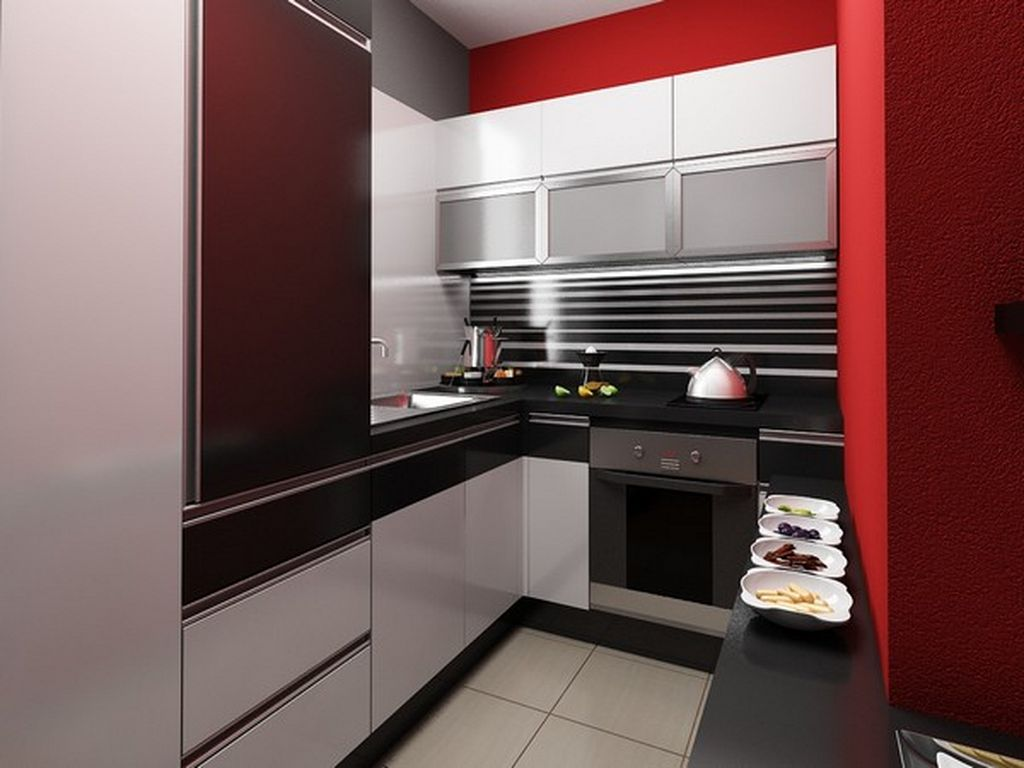 Interior design ultra small apartment with modern for Small contemporary kitchen designs