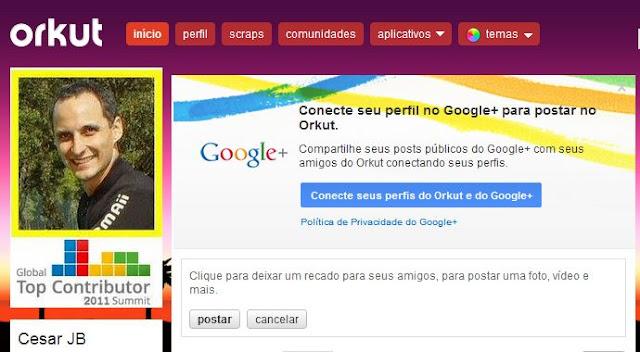 Mensagem para integração entre os perfis do Orkut e do Google+