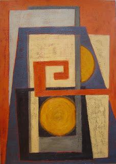 Pintura abstracta. Composición geométrica. Pintura acrílica sobre cartulina