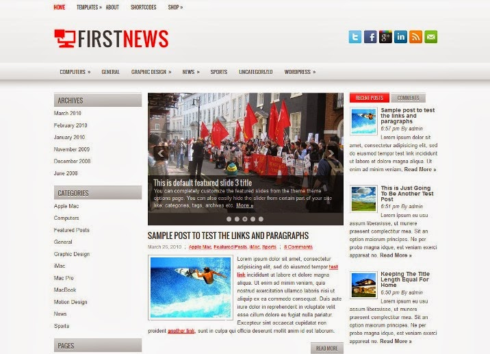 FirstNews - Free WordPress Theme