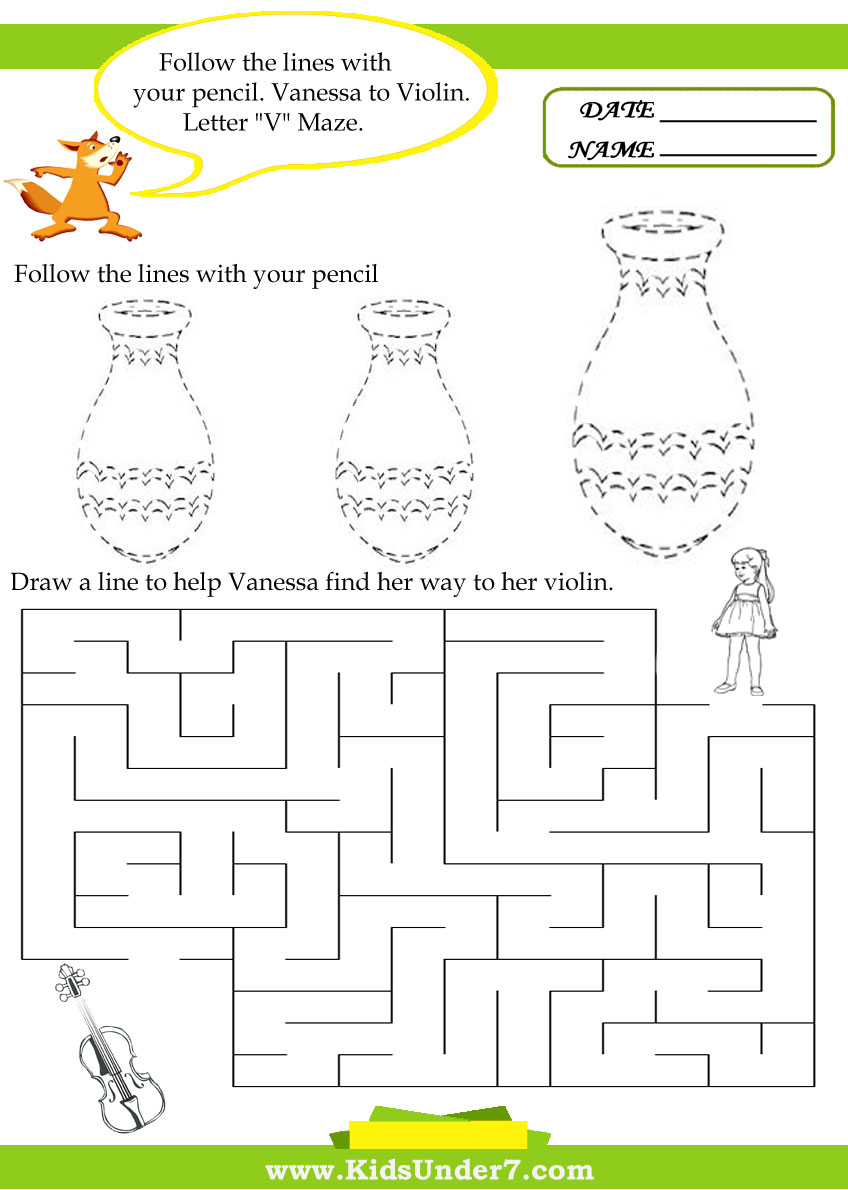 Kids Under 7: Letter V Worksheets.