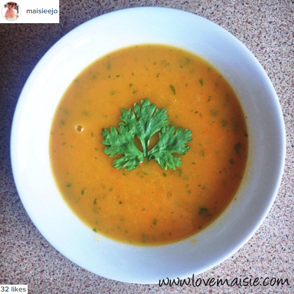Vegan carrot and coriander soup recipe, love maisie