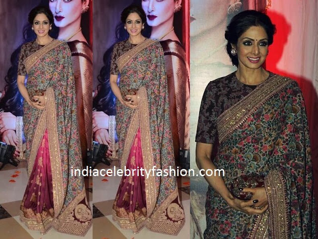 Sridevi in Floral Half and Half Saree