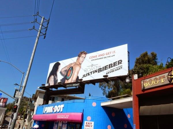 Justin Bieber Comedy Central Roast billboard Sunset Strip