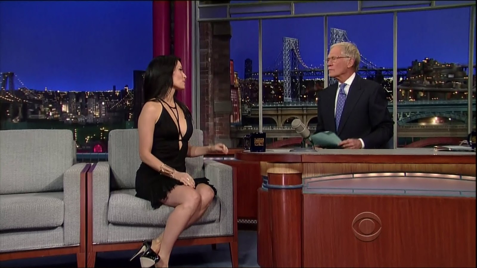 Lucy Liu Crazy Revealing Dress For Letterman