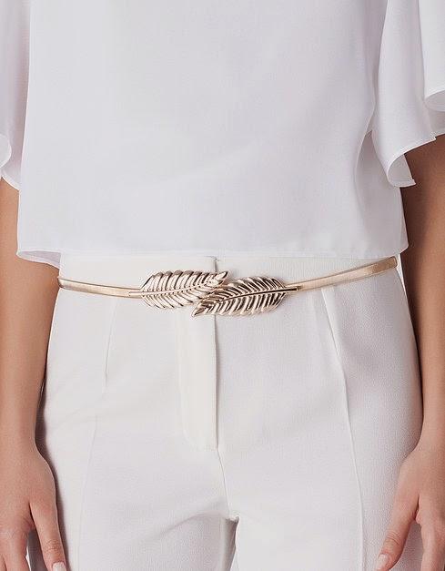 cinturón hojas Blanco