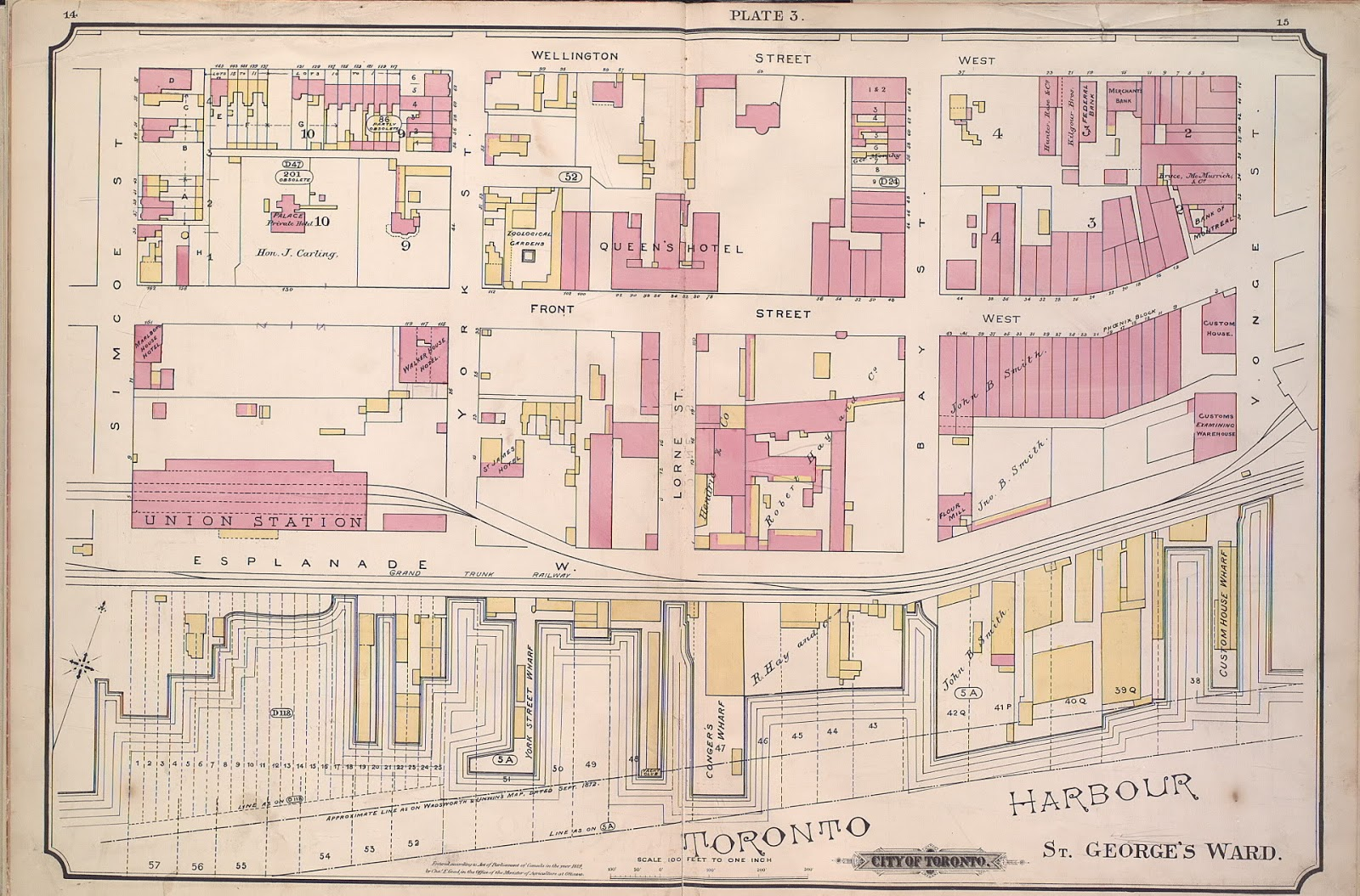 Plate 3, 1884 Goad Atlas of Toronto, Union Station, Queen's Hotel