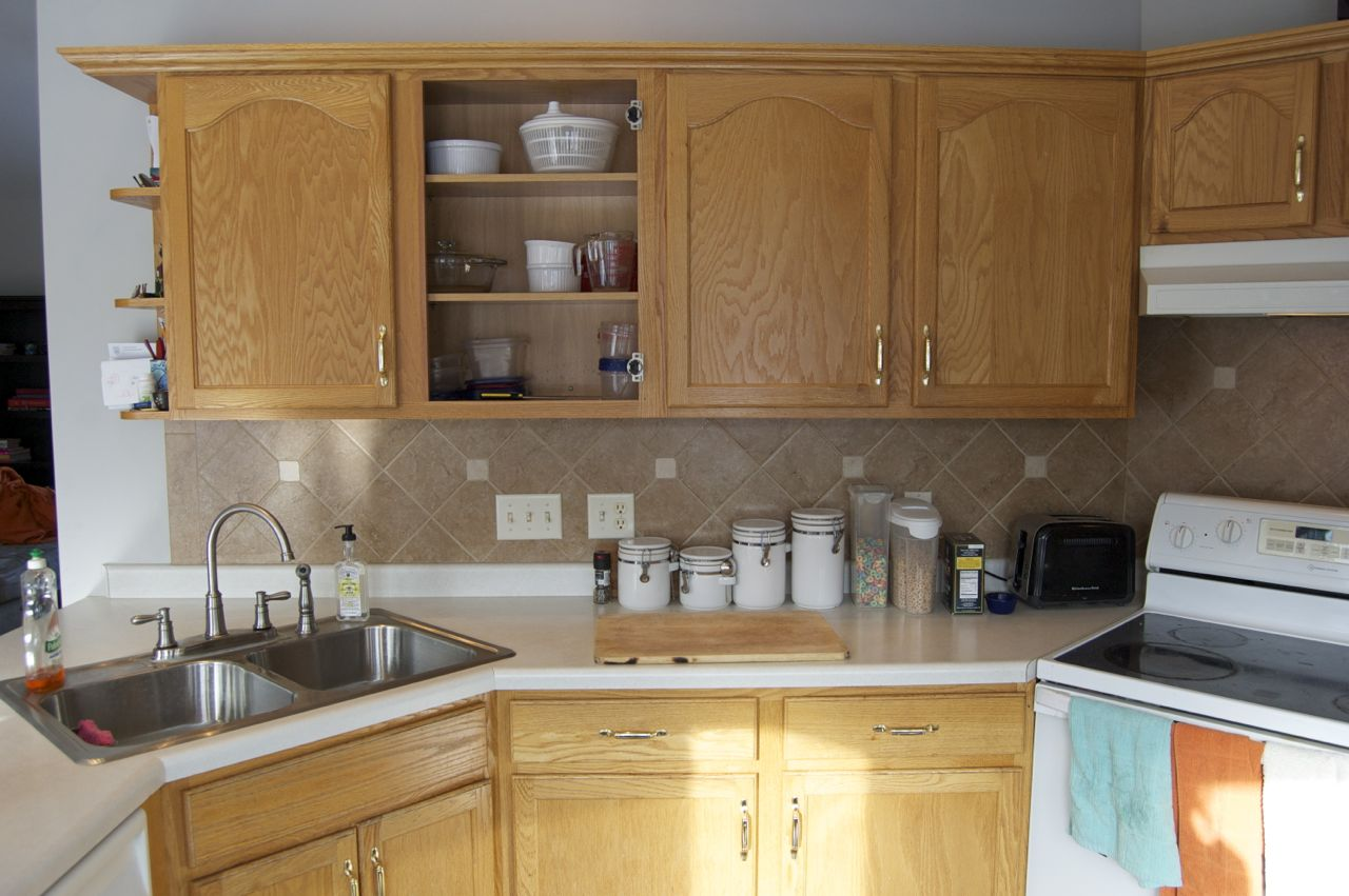 Before and After Painted Ceramic Tile Backsplash
