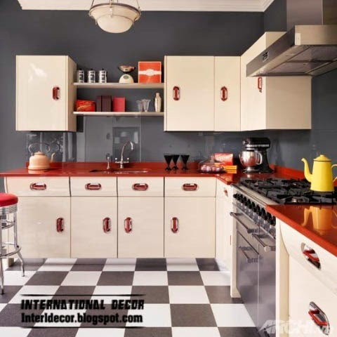 L-shaped kitchen designs, red and white kitchen layouts