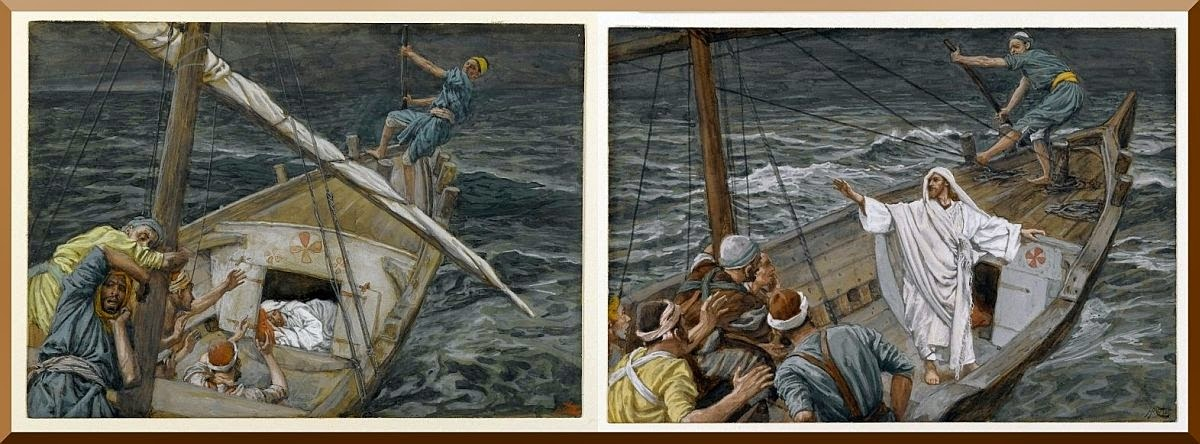 """Jesus Sleeping During the Tempest"" (left) and ""Jesus Stilling the Tempest"" (right) -- by James Tissot"