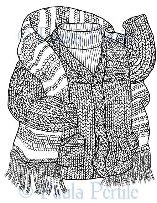 drawing a fine line drawings of knitting coloring book
