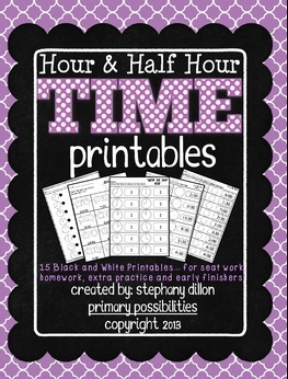 http://www.teacherspayteachers.com/Product/Time-Printables-Hour-Half-Hour-Homework-Seat-Work-and-More-1033512