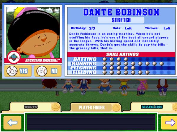 Dante Robinson Backyard Baseball thoughts, stories and poems to dye for: my ideal backyard baseball team