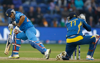Shikhar Dhawan stumped by Kumar Sangakkara-India vs Srilanka-ICC champions Trophy-2013
