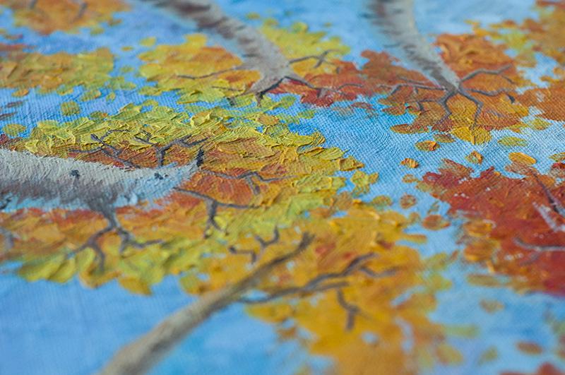 деревья осень, березы маслом, живопись деревья и небо