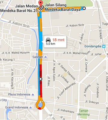 Jalur rute EduRun 5K 2015 Universitas Mercu Buana, lomba lari mh thamrin bunderan hi jakarta