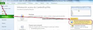 VBA: Cómo cambiar las propiedades de un documento de Excel.