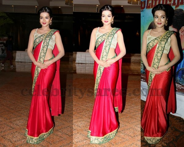Cathrine in Red Crepe Saree