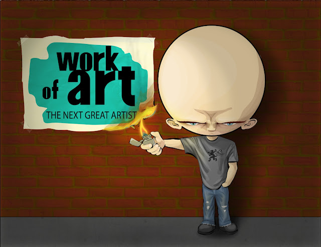 cartoon illustration of angry big headed bald guy burning work of art the next great artistposter