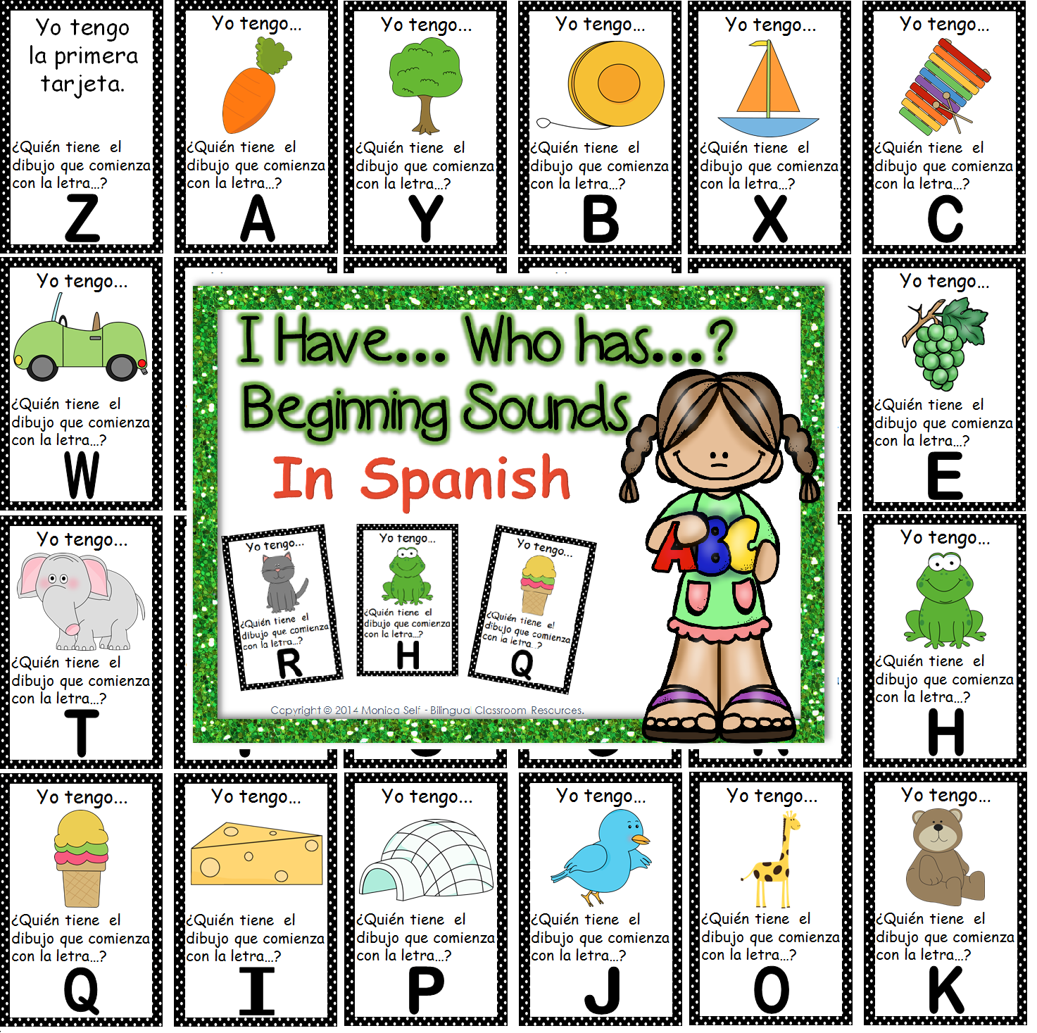 http://www.teacherspayteachers.com/Product/I-Have-Who-Has-Beginning-Sounds-in-Spanish-1297204