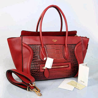 Long Celine Luggage Croco Semi Premium