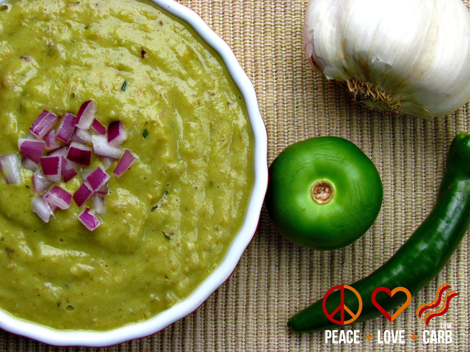 Roasted Tomatillo Avocado Salsa Verde | Peace Love and Low Carb