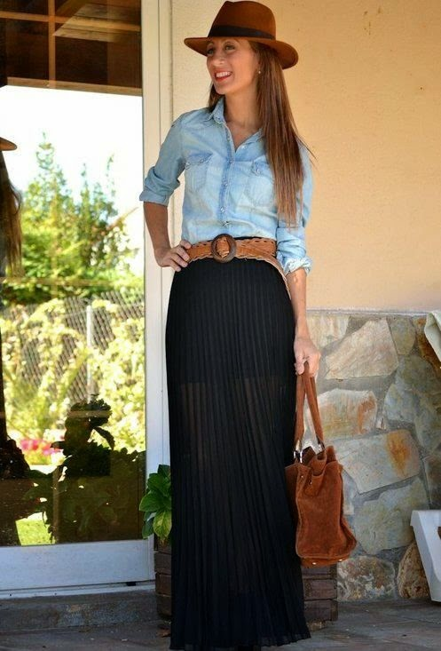 Maxi skirt classy outfit